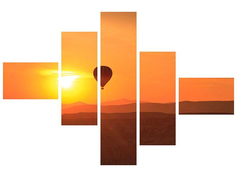 Leinwandbild 5-teilig modern Heissluftballon bei Sonnenuntergang