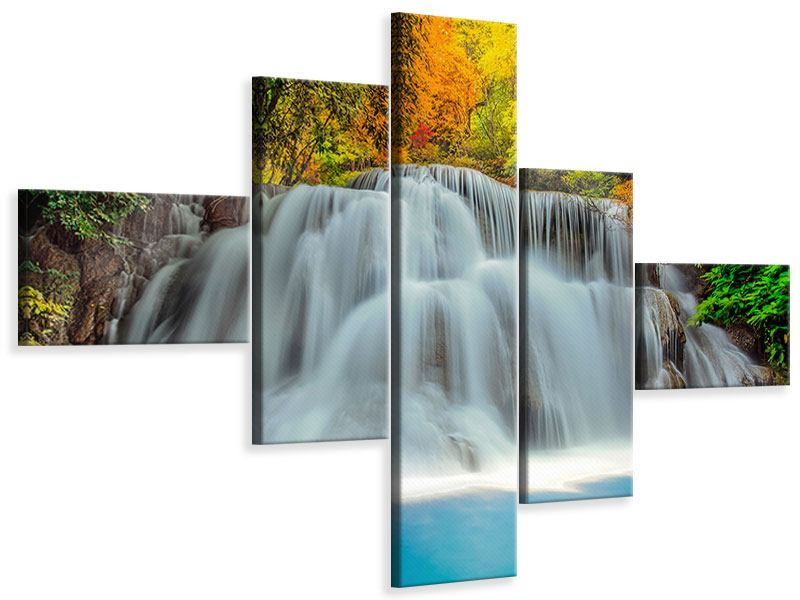 Leinwandbild 5-teilig modern Fallendes Gewässer