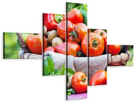 Leinwandbild 5-teilig modern Gemüsekorb
