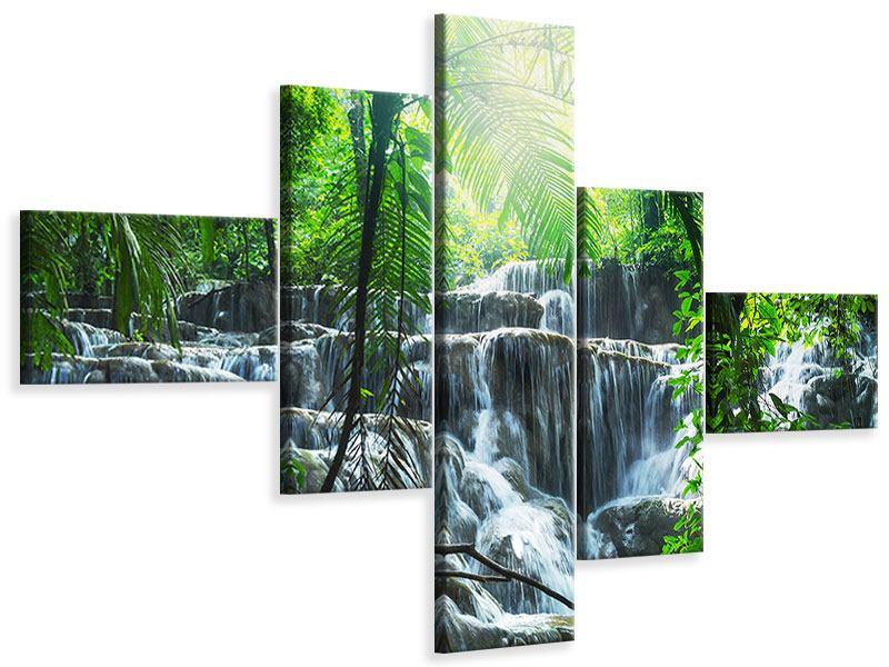 Leinwandbild 5-teilig modern Wasserfall Agua Azul