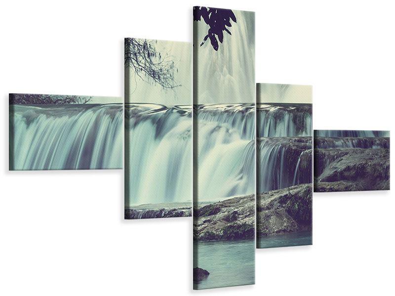 Leinwandbild 5-teilig modern Wasserfall Mexiko