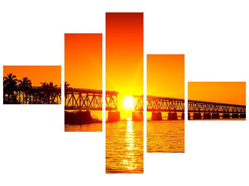 Leinwandbild 5-teilig modern Sonnenuntergang an der Brücke