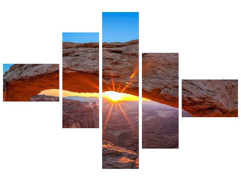 Leinwandbild 5-teilig modern Sonnenuntergang am Mesa Arch