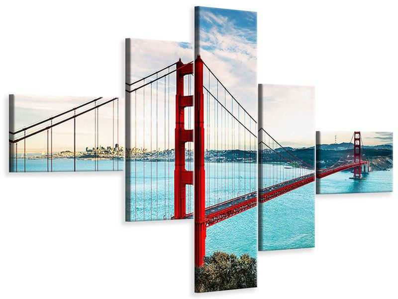 Leinwandbild 5-teilig modern Golden Gate Bridge