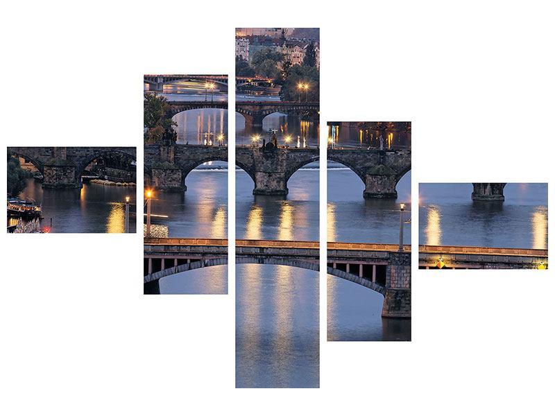 Leinwandbild 5-teilig modern Brücken in Prag