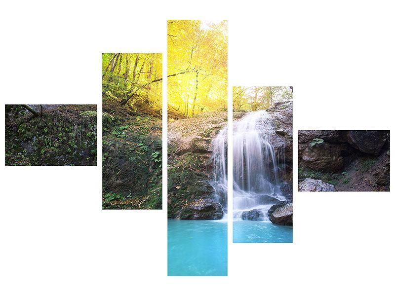 Leinwandbild 5-teilig modern Fliessender Wasserfall