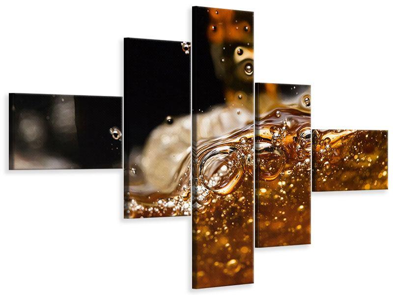 Leinwandbild 5-teilig modern Cognac
