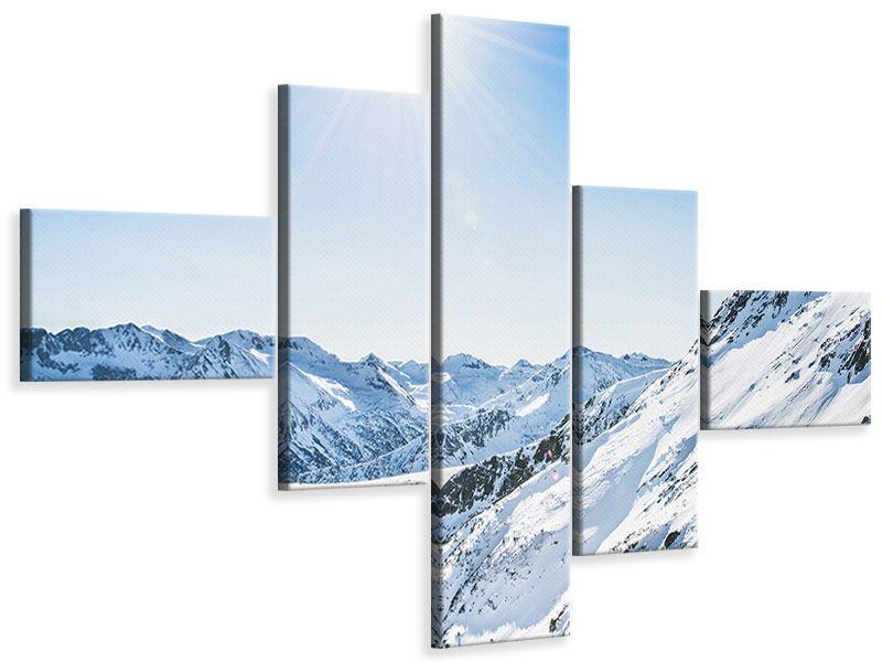 Leinwandbild 5-teilig modern Bergpanorama im Schnee