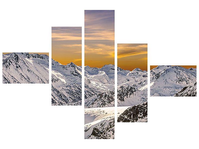 Leinwandbild 5-teilig modern Sonnenuntergang in den Bergen