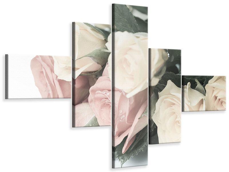 Leinwandbild 5-teilig modern Rosenromantik