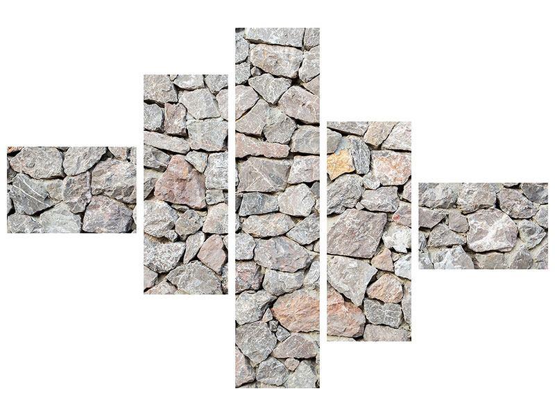 Leinwandbild 5-teilig modern Grunge-Stil Mauer