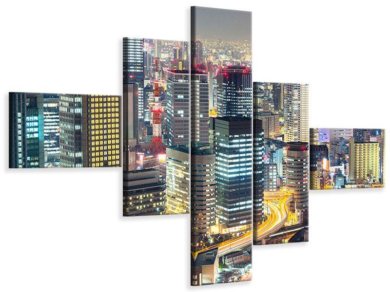 Leinwandbild 5-teilig modern Skyline Osaka im Lichtermeer