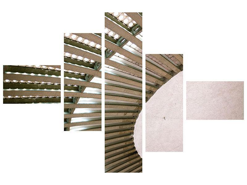 Leinwandbild 5-teilig modern Abstraktes Rad