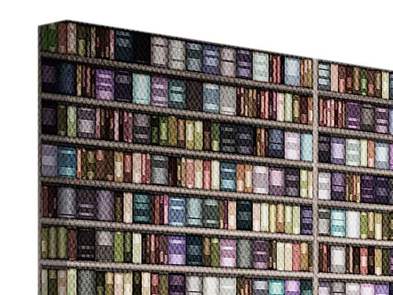 Leinwandbild 5-teilig modern Bücherregal