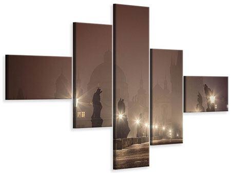 Leinwandbild 5-teilig modern Die Karlsbrücke bei Nacht