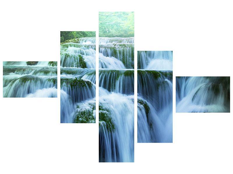 Leinwandbild 5-teilig modern Gigantischer Wasserfall