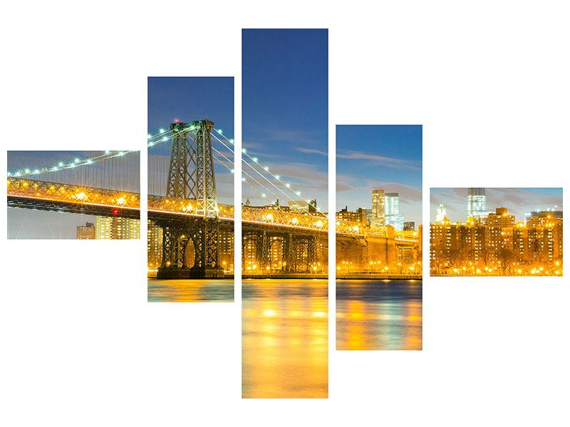 Leinwandbild 5-teilig modern Brooklyn Bridge bei Nacht