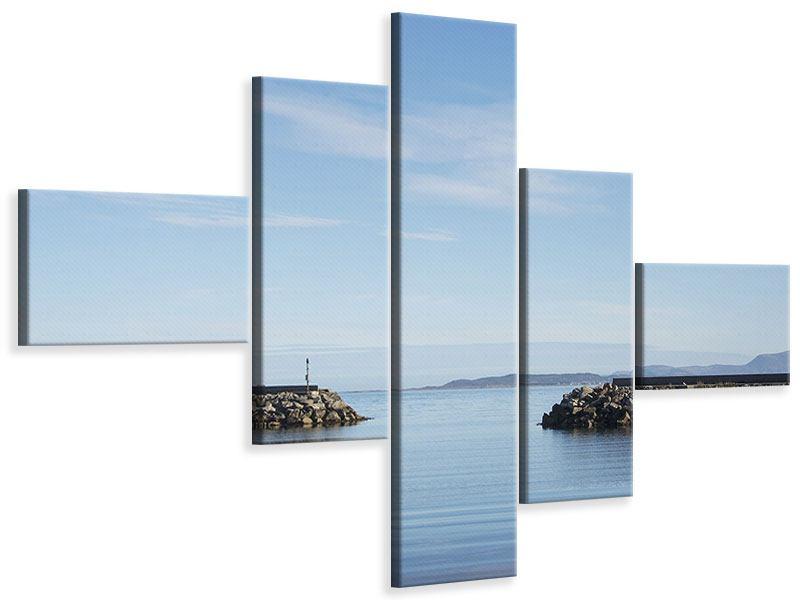 Leinwandbild 5-teilig modern Hafenmauern