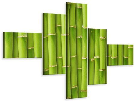 Leinwandbild 5-teilig modern Bambuswand