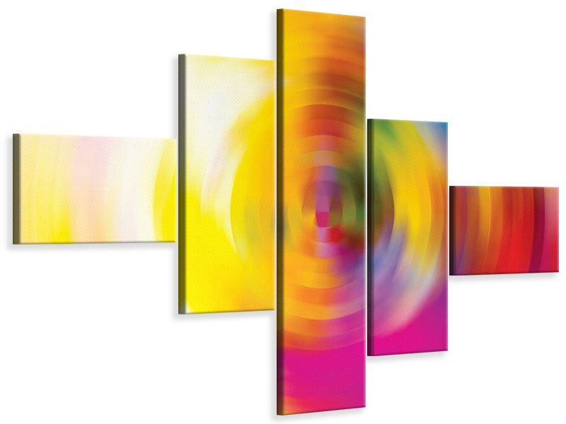 Leinwandbild 5-teilig modern Abstrakte Farbkreise