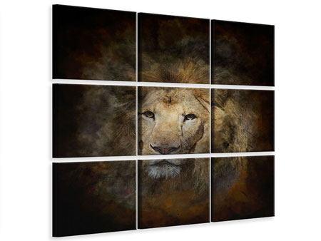 Leinwandbild 9-teilig Löwenportrait