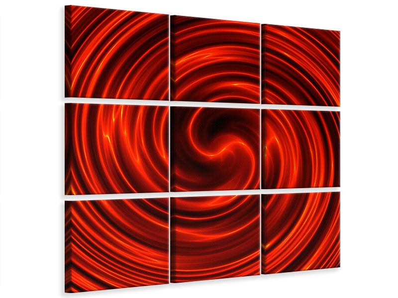 Leinwandbild 9-teilig Abstrakte Rote Wirbel