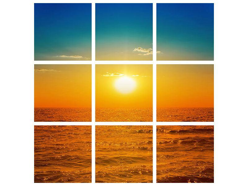 Leinwandbild 9-teilig Das Meer im Sonnenuntergang