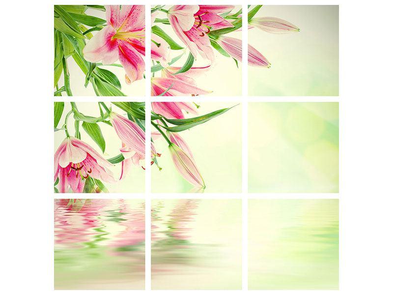 Leinwandbild 9-teilig Lilien am Wasser