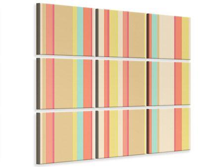 Leinwandbild 9-teilig Pastell Streifen