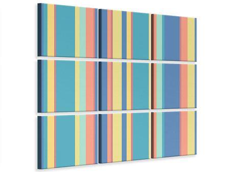 Leinwandbild 9-teilig Längstreifen in Pastell