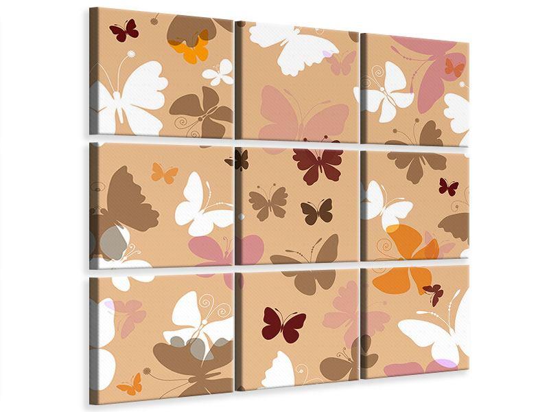 Leinwandbild 9-teilig Retrodesign Schmetterlinge