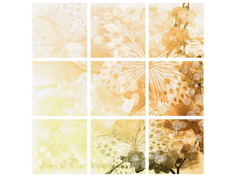 Leinwandbild 9-teilig Romantische Schmetterlinge