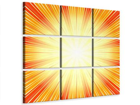 Leinwandbild 9-teilig Abstrakte Retro Sonne