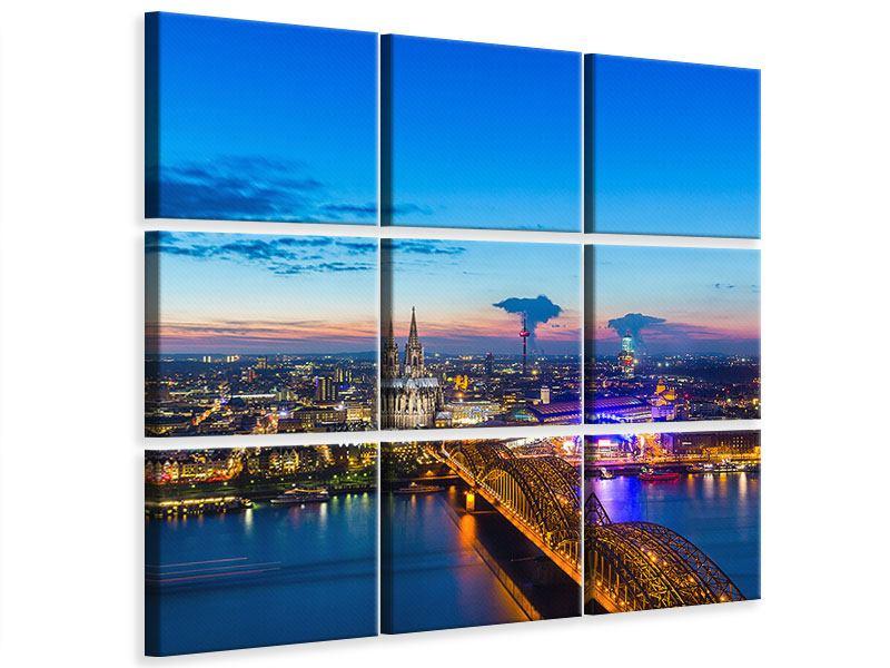Leinwandbild 9-teilig Skyline Ein Penthouse in Köln