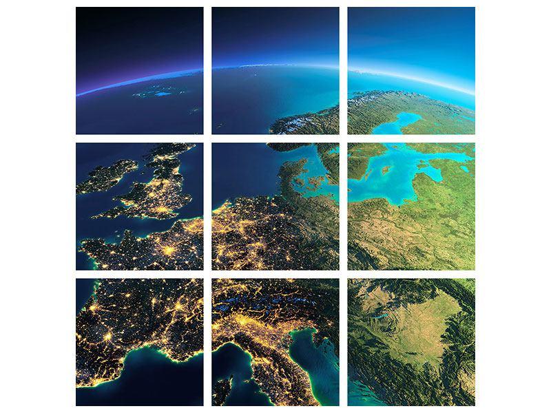 Leinwandbild 9-teilig Close Up Planet Erde