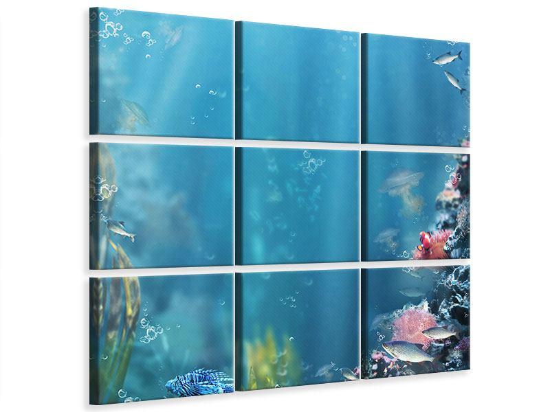 Leinwandbild 9-teilig Unter Wasser