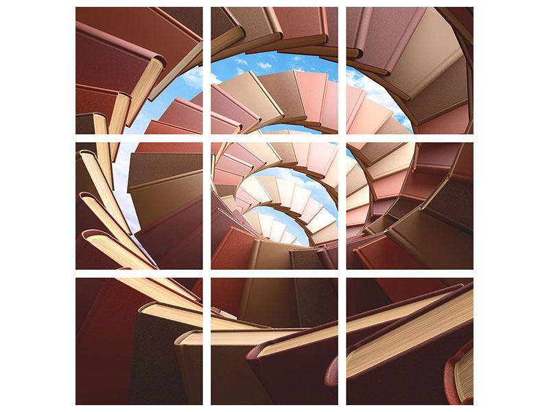 Leinwandbild 9-teilig Abstrakte Bücher-Wendeltreppe