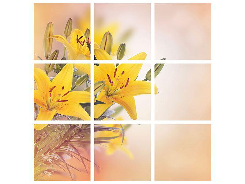 Leinwandbild 9-teilig Gelbes Lilientrio