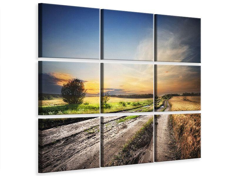 Leinwandbild 9-teilig Sonnenaufgang am Feld