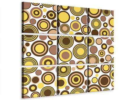 Leinwandbild 9-teilig Kreise im Retrodesign