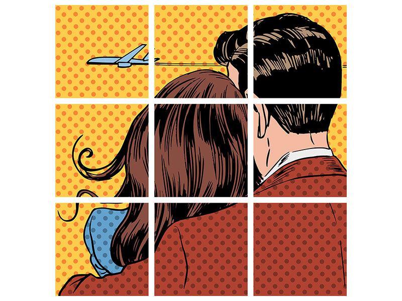 Leinwandbild 9-teilig Pop Art Zweisamkeit