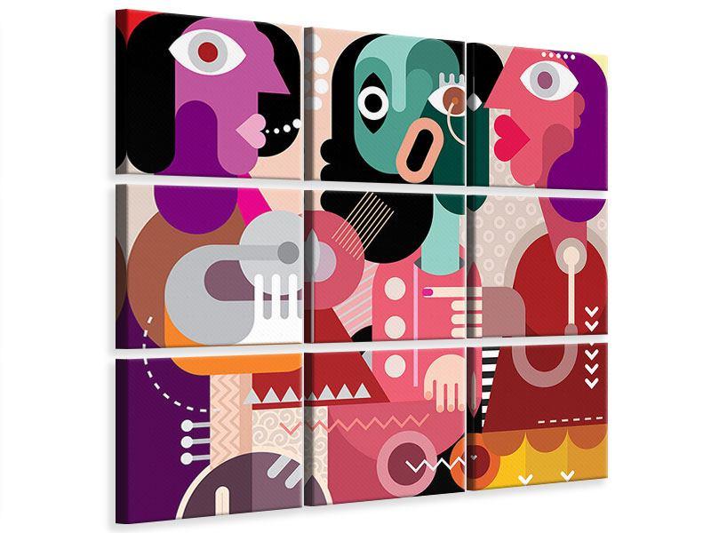 Leinwandbild 9-teilig Moderne Kunst Frauen