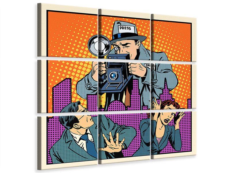 Leinwandbild 9-teilig Pop Art Paparazzi
