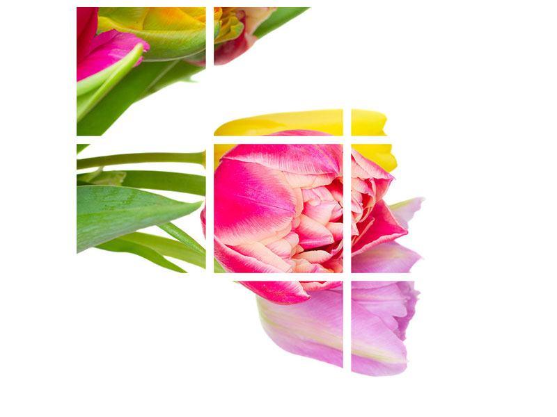 Leinwandbild 9-teilig Ein bunter Tulpenstrauss