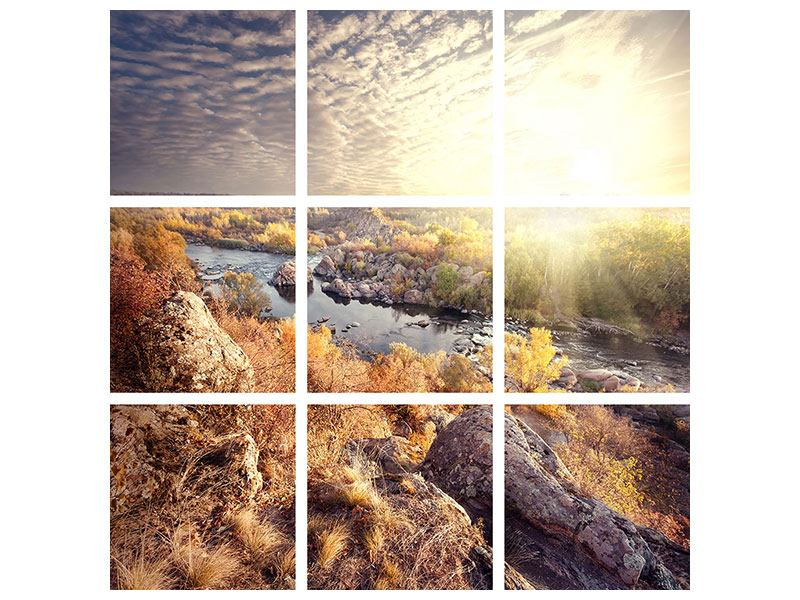 Leinwandbild 9-teilig Sonnenaufgang am Fluss