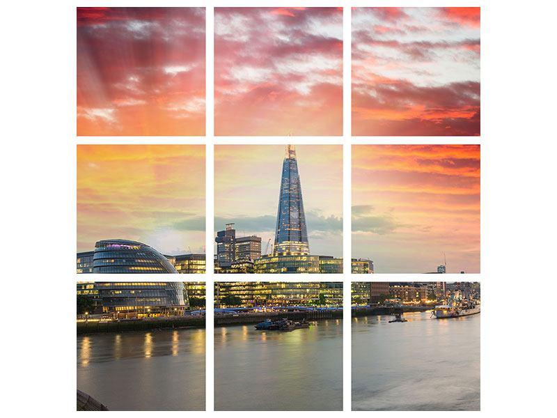 Leinwandbild 9-teilig Skyline London im Abendrot