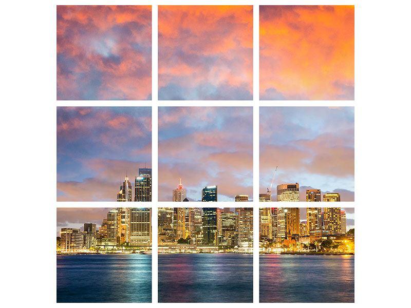 Leinwandbild 9-teilig Skyline Das Lichtermeer von Sydney