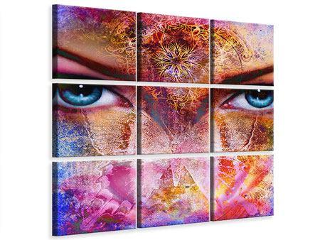 Leinwandbild 9-teilig Psychedelic Face
