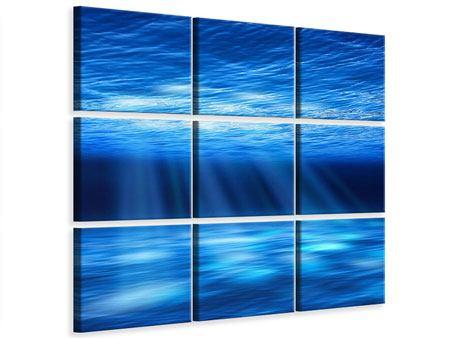 Leinwandbild 9-teilig Licht unter Wasser