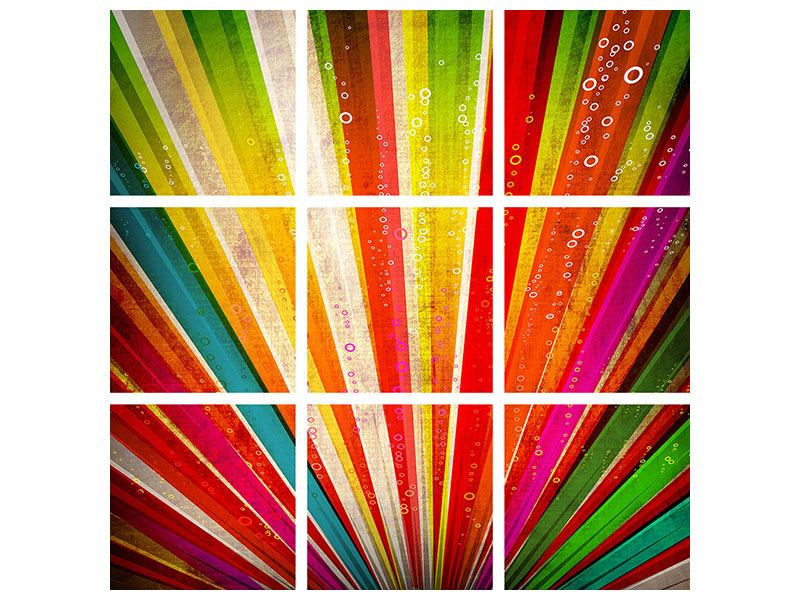 Leinwandbild 9-teilig Abstrakte Farbstrahlen
